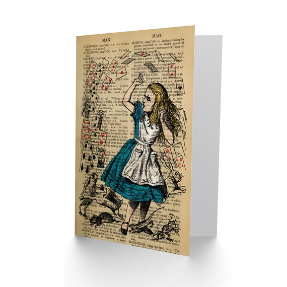 GREETINGS CARD BIRTHDAY GIFT UPCYCLE DICTIONARY ALICE WONDERLAND COLLAGE CP2881