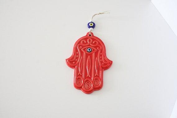 "Red Enamel Hamsa Hand Wall Hanging Home Decor Evil Eye Protection Amulet 5/"""
