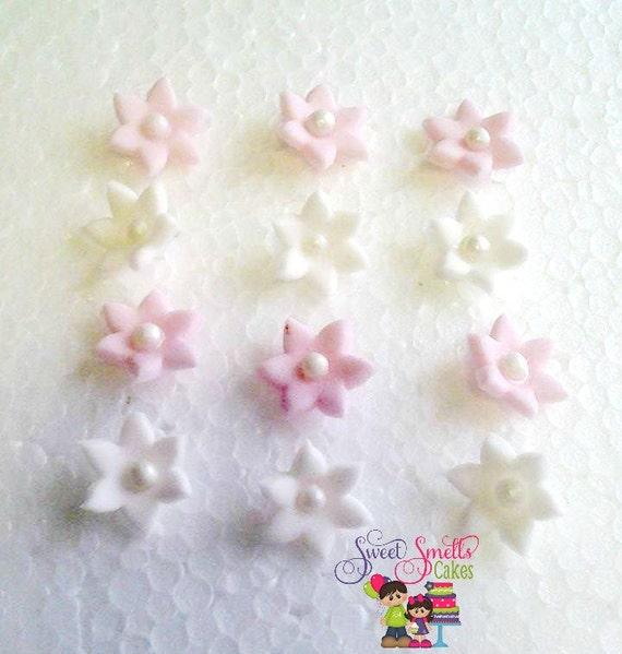 Mini Flowers Fondant Flowers Cupcake Decorations Fondant Etsy
