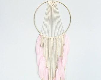 Boho wall hanging, macrame mix with pink feathers, boho decor, unique wall decor, minimalist decor, boho chic, dream catcher macrame