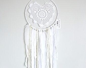 All White heart shaped crochet doily dreamcatcher, unique dream catcher, unique doily, boho nursery decor, boho chic decor, boho wall decor