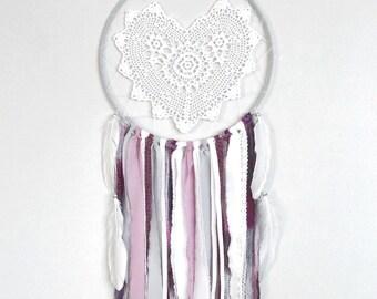 White heart shaped crochet doily dreamcatcher with purple and grey unique dream catcher, unique doily, boho nursery decor, boho chic