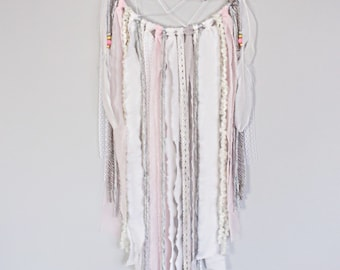 Pink, Silver and grey full circle dreamcatcher, dream catcher, unique wall decor, nursery wall decor, nursery dreamcatcher