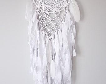 All white full circle doily and macrame dreamcatcher, dream catcher, moon catcher, unique wall decor, boho chic decor