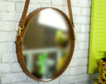Unique|gift|for|her Wall mirror in leather frame Home decor in loft style