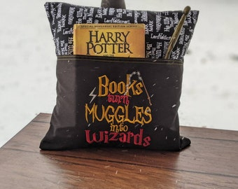 HP inspired book pillow, muggles, wizards