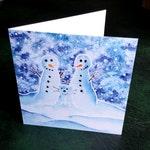 Cat lover Christmas card, Snowman xmas card, SALE, snowcat, snow cat, watercolour xmas card, watercolour Christmas card