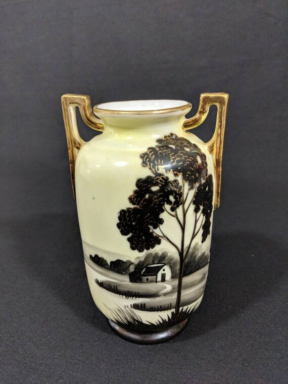 Hand Painted Nippon China E Oh Porcelain Vase Art Deco Style Etsy