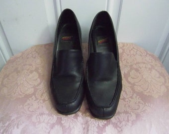 8259d87ec3e01 Black leather Chunky Heel Loafers