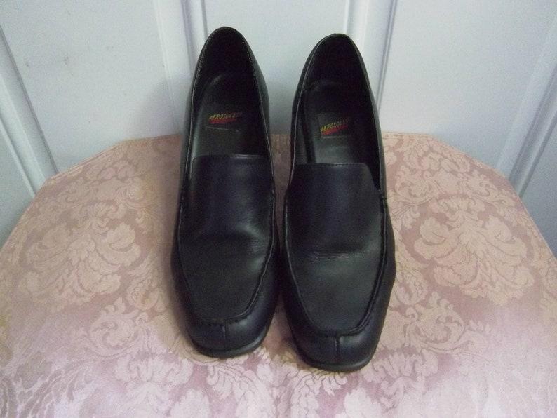 4569d36ac7b Black leather Chunky Heel Loafers, Size 7.5, Vintage Aerosoles