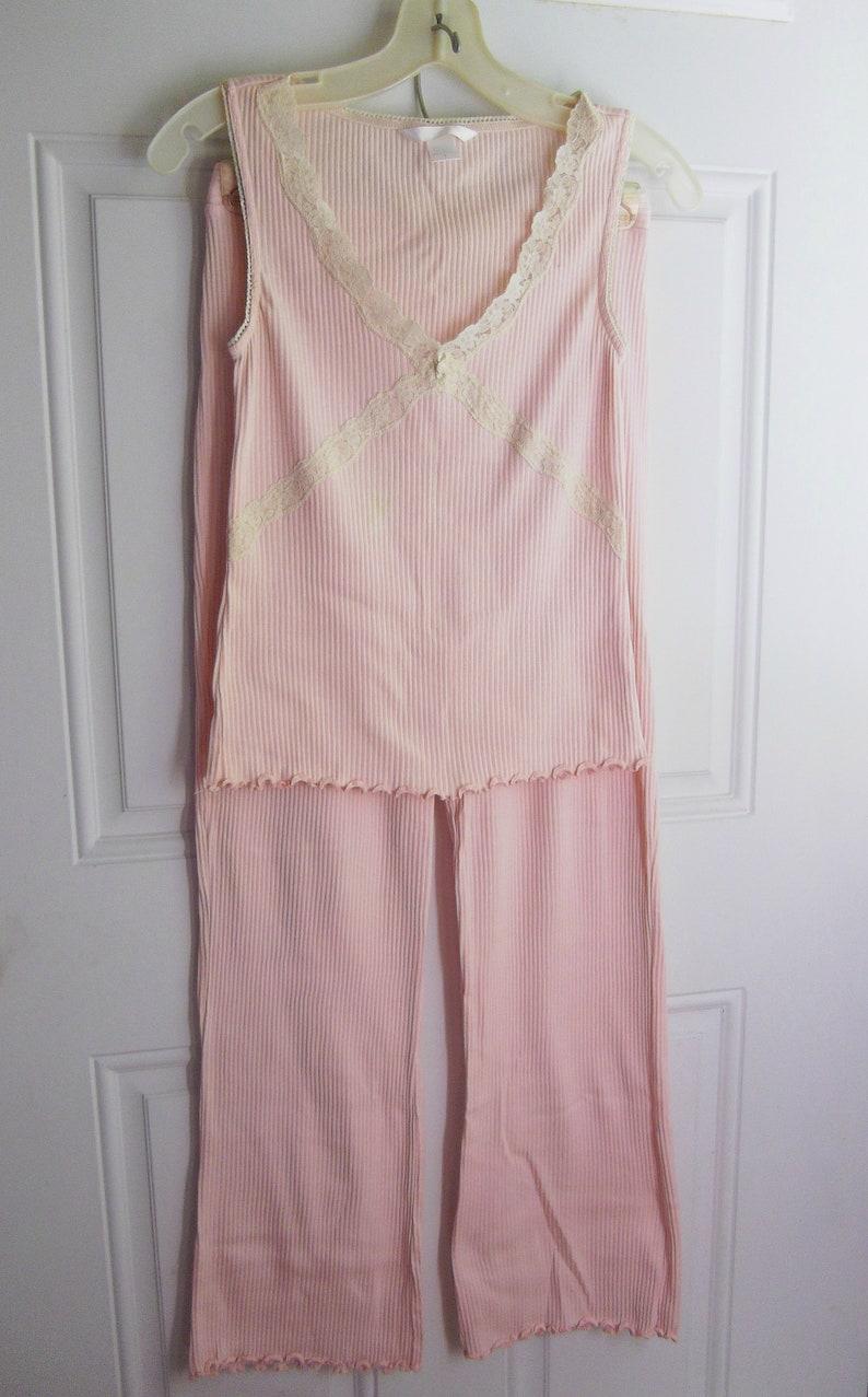 Pink 2 Pc Summer Sleepwearlonge Set Size Small Dockers Vintage 90s