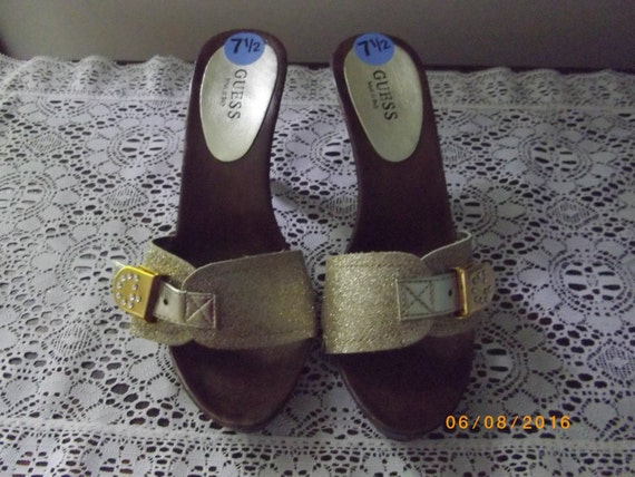 Gold Mules by Guess, Wood Heel, Size 7.5, Vintage… - image 1