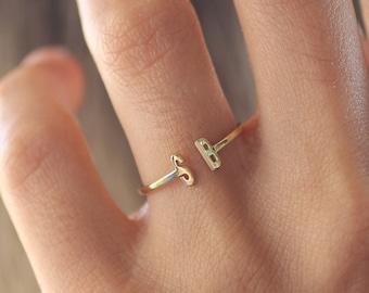 Three Monogram Rings \u2022 Sterling Silver Letter Ring \u2022 Gold Name Ring \u2022 Personalized Gift Jewelry \u2022 Women Wife \u2022 Custom Meaningful Rings Two