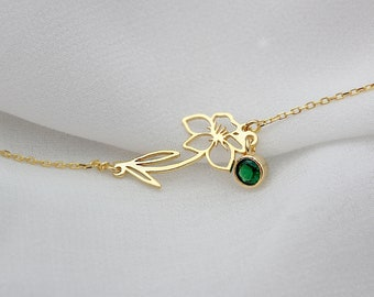 Silver Birth Flower Bracelet • Birthstone Bracelet • Custom  Bracelet • Custom Flower Bracelet • Personalized Flower Bracelet • Birth flower