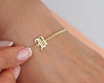 Gothic Alphabet Name Bracelet Old english Letters Name Bracelets,gold name bracelet Gothic Letters Bracelet