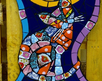 Mosaic patchwork cat