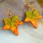 Fall Leaf Earrings   Autumn Leaf Jewelry   Fall Earrings   Autumn Earrings   Polymer Clay Jewelry   Green Gold Jewelry