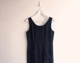 Dark charcoal linen dress