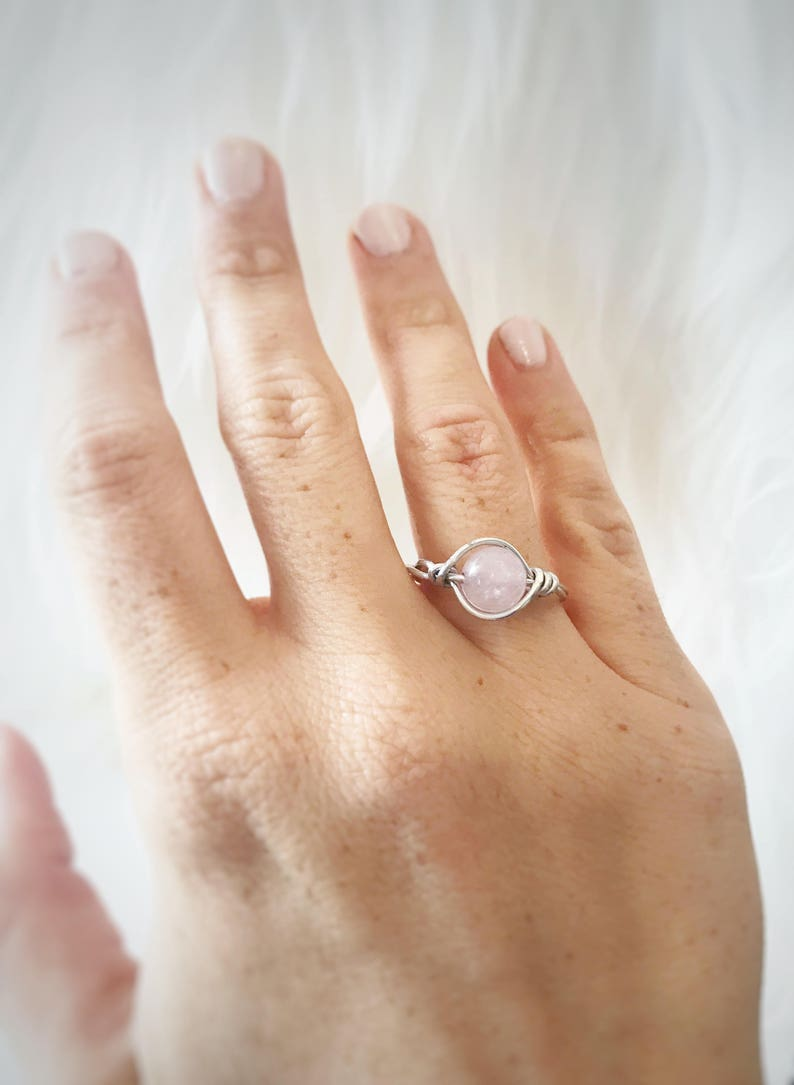 Baby Shower Gemstone Ring Love Ring Healing Rose Quartz Ring Stacked Ring Pregnancy Ring Fertility Ring Wire Wrapped Ring Love Ring