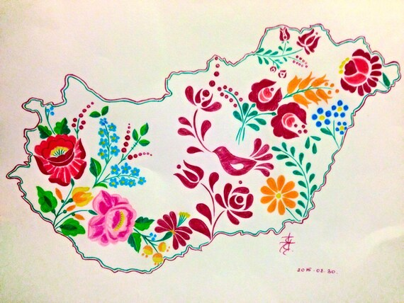Hungary map drawing with Hungarian folk patterns