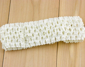 White headband soft and fine crochet for baby and girls up to 6 years, tutus, dresses, hair accessory