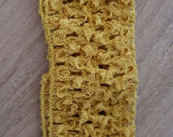 Headband ochre soft and fine crochet for baby and girls up to 6 years, tutus, dresses, hair accessory