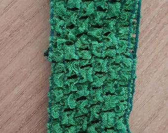Headband green soft and fine crochet for baby and girls up to 6 years, tutus, dresses, hair accessory