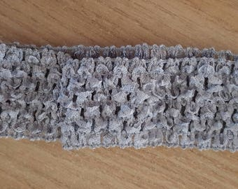 Headband grey soft and fine crochet for baby and girls up to 6 years, tutus, dresses, hair accessory