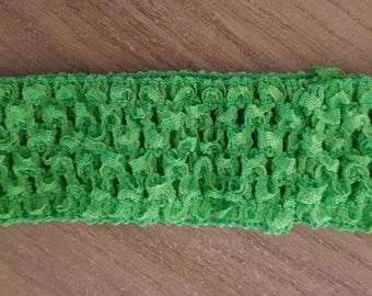 Headband dark green soft and fine crochet for baby and girls up to 6 years, tutus, dresses, accessory