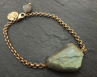 Labradorite Chain Bracelet/Handmade/Fair Trade/Friendship/Healing Stone/Gift for Her/Natural Stone/Gemstone Bracelet/Faceted Labradorite