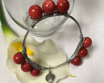 Red Coral Bangle Bracelet, Wire Wrapped Bangle, Gift for her
