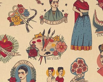 47bc5e054 Alexander Henry Todo Para Ti - Mexican Folklorico Cultural Tattoo style Frida  Kahlo Fabric - Taupe - Per 1/2 metre - 100% Cotton