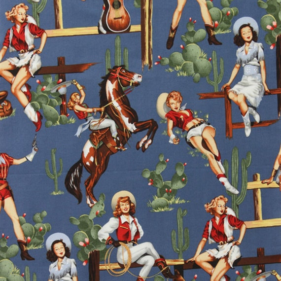 Alexander Henry FROM THE HIP Western Cowgirl Rodeo Pin Up Fabric Natural