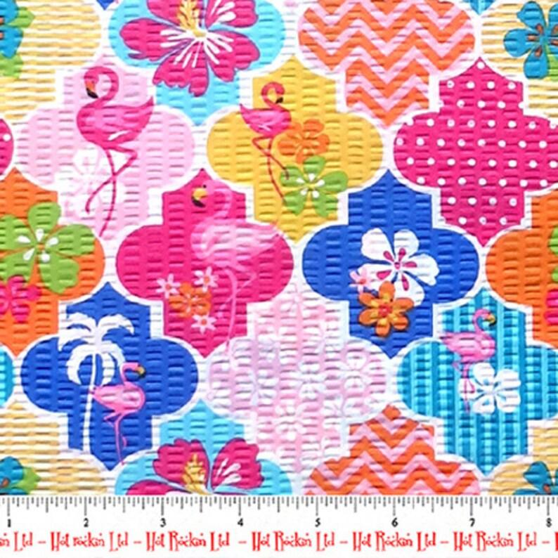 TUTTI FRUTTI Tropical Hawaiian Flamingo Hibiscus Floral Fabric Flamingo Island