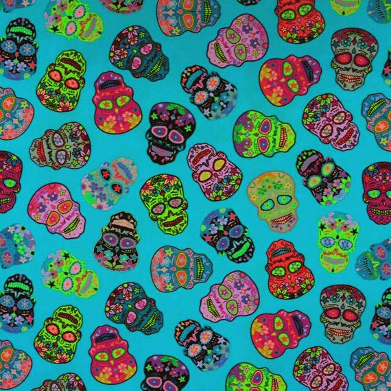 Nutex SUGAR SKULLS Mexican Calavera Candy Skull Day of the Dead Fabric Teal