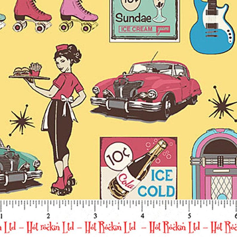 Cream Northcott MELS DINER 50s Diner Car Hop Hot Rod Drive-In Jukebox Fabric