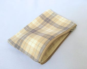 Plaid Beige Pencil case, Zipper pouch, Back to school, Make-up bag, Cosmetic pouch, Small, Coin purse