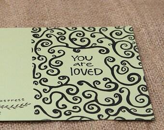 You are Loved Card, Screenprinted Card, Birthday Card, Anniversary Card, Handmade Card, Frameable Card,