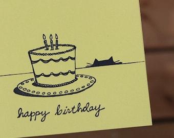 Cat Letterpress Card, Letterpress Birthday Card, Cat Lovers Card, Handmade Card
