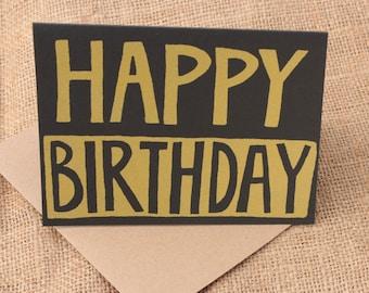 Happy Birthday Card, ScreennPrint birthday card, Handmade Card