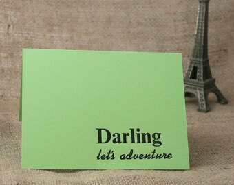Darling Let's Adventure Card, Letterpress Card, Lovers Card, Anniversary Card, Wedding Card, Fun Card, Adventure Quote, Love Quote