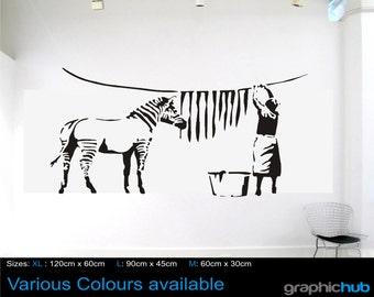 Banksy Zebra Stripes Laundry Washing Wall Art Sticker Decal