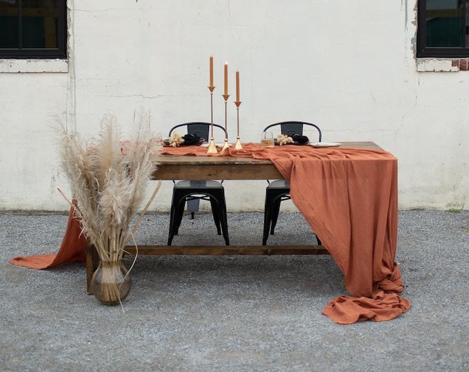 Terracotta Table Runner, Cheesecloth Table Runner, Copper Wedding Decor, Rustic Wedding Decor, Boho Table Decor, table runner Burnt Orange