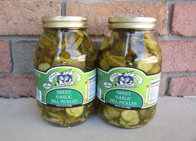 Amish Wedding Foods.Amish Wedding Foods Sweet Garlic Dill Pickles Two 32oz Jars