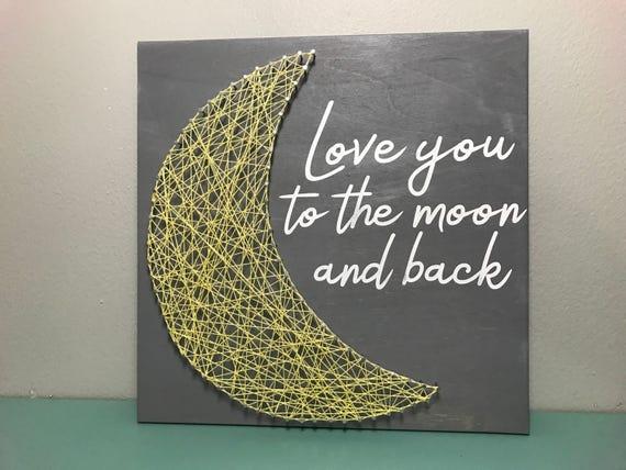 Amo A La Luna Y Signo Mano Vestido Pintado De La Cadena Arte Decoración Cuarto De Niños