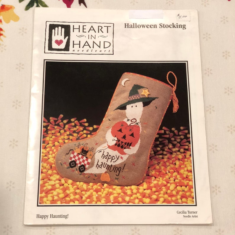 Heart in Hand Needleart Happy Haunting  Halloween Stocking Counted Cross Stitch Pattern with Fabric and Buttons