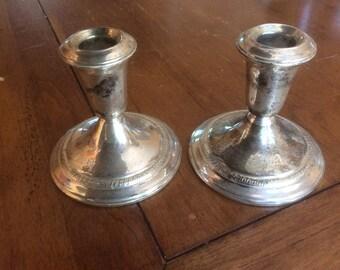 Schweitzer Sterling Silver Weighted Candlesticks