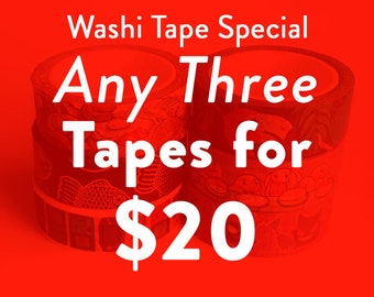 3 for 20 dollars washi tape set -  washi tape special - cute nerdy stationery gift - paper sticker masking tape - journal tape deal