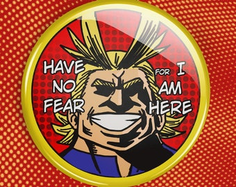 """All Might BNHA button   MHA 2.25"""" Pin Button   My Hero Academia   have no fear for i am here   boku no hero   go beyond plus ultra"""
