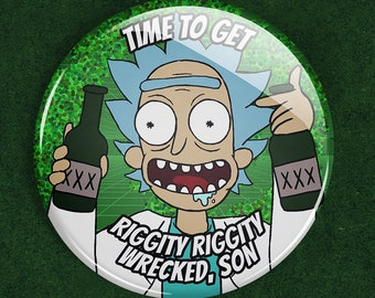 Clearance: Time To Get Wrecked, Son! Drunk Science Grandpa button, adult cartoon grandpa, drunk time traveler pinback button